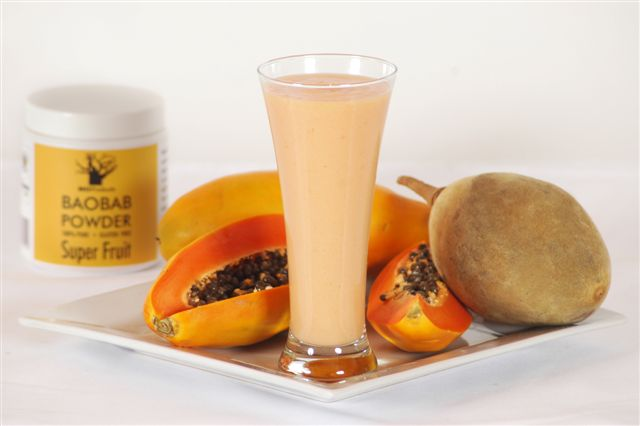 Baobab pawpaw smoothie: for the morning after!