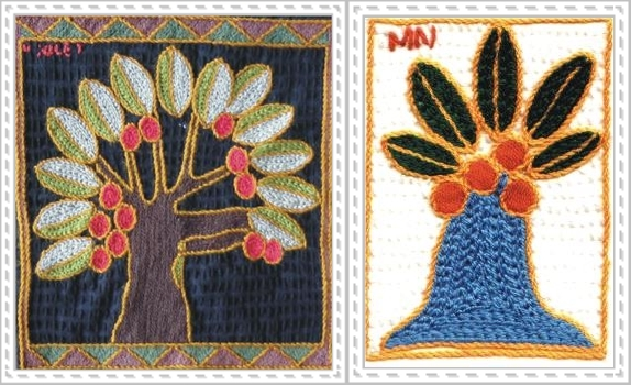 embroidered baobab trees together